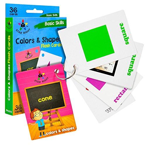 Star Right Farben und Formen Lernkarten mit Bildern, 36 Karten, mit 1 Ring, für Kinder ab K&K