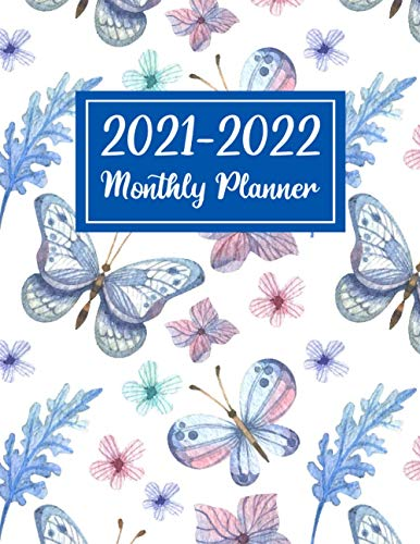 Monthly Planner 2021-2022: Awesome Colorful Butterfly Theme a Large 2 Year Smart Blank Pocket Diary, Calendar or Organizer in Line Page and Dot Grid ... Organizer, To-Do List and Academic Planner
