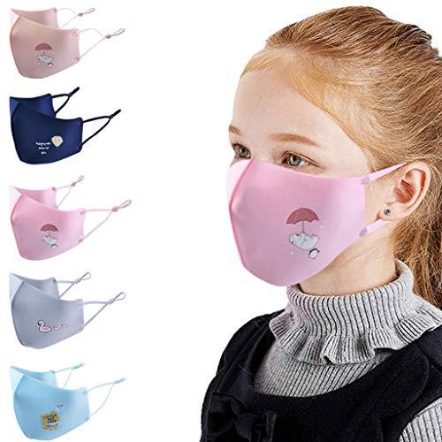 Woohooens 5 Pezzi Tessuto Bocca in Cotone per Unisex - Stampa del Fumetto - Lavabili Riutilizzabili Antipolvere Visiera Viso per Bambino