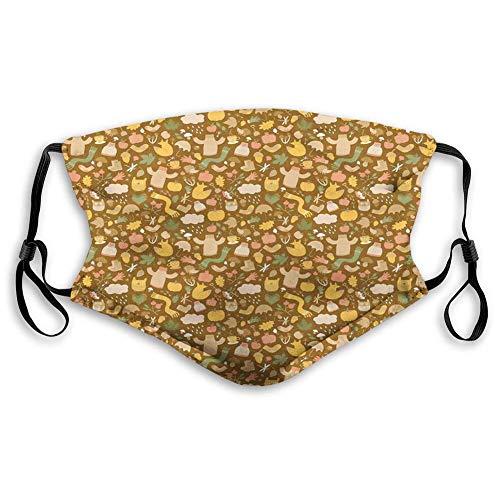 Decoraciones faciales Decoración facial Elementos de temporada de otoño con bufanda de búho de calabaza y gorras en un fondo terroso tonificado, cómodo e impreso para adolescentes y niños