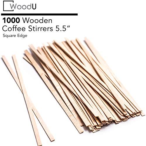 """Kaffeerührstäbchen (5,5 """"1000 Stück) Square End, umweltfreundliche Kaffeerührer Holz für heiße Getränke"""