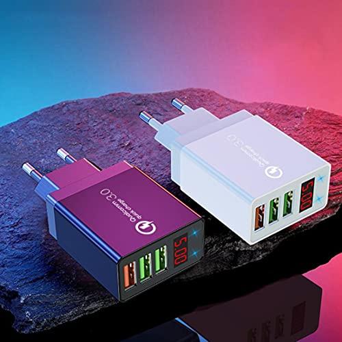 BiaBai Cargador de teléfono móvil digital de 3 USB Pantalla digital Cargador de teléfono de pared de carga rápida Adaptador de teléfono móvil de carga rápida