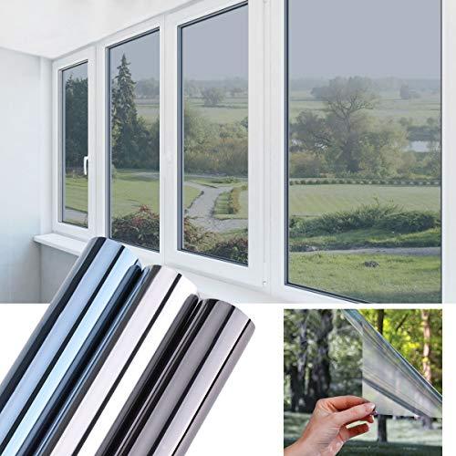 KINLO Spiegelfolie Selbstklebende Fensterfolie 45X200CM Sonnenschutzfolie One Way Reflektierende Fensterfolie Glasfolie UV-Schutz Folie Sichtschutz & Hitzeschutzfolie Blausilber