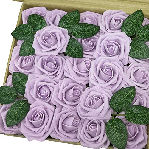 Jing-Rise Artificial Flowers 30PCS Real Looking Fake Roses With Stem For DIY Wedding Bouquets Centerpieces Party Baby Shower Home Decorations(Lilac)
