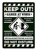仕事でゲーマーを締め出す 金属板ブリキ看板警告サイン注意サイン表示パネル情報サイン金属安全サイン