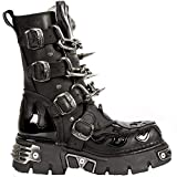 New Rock Unisex M.727-S1 Black Leather Boots Skull Chain Flame Reactor Boots 36