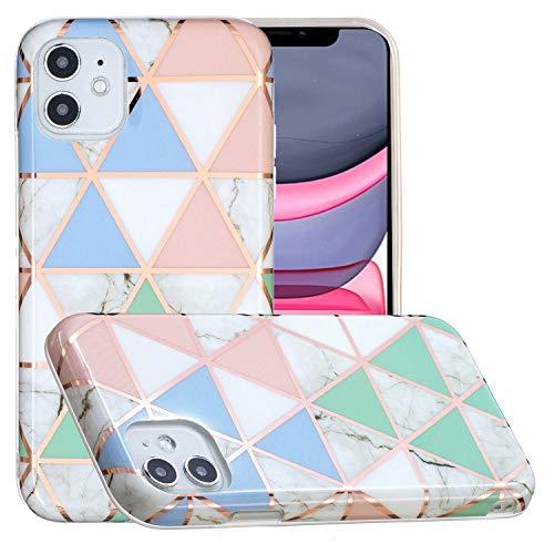 Miagon Marmor Hülle für iPhone 12 Mini,Dünn Weich Silikon Flexible Handyhülle Schutzhülle Galvanisiert Marble Bumper Handytasche Zurück Cover Gummi,Blau Weiß