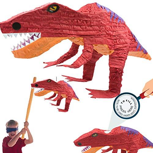 Carpeta XL-Pinata * T-REX * als Schlagpinata für Kindergeburtstag | Größe: 60x30x25cm | Piñata für Kinder | Dino Dinosaurier Geburtstag Party Spiele