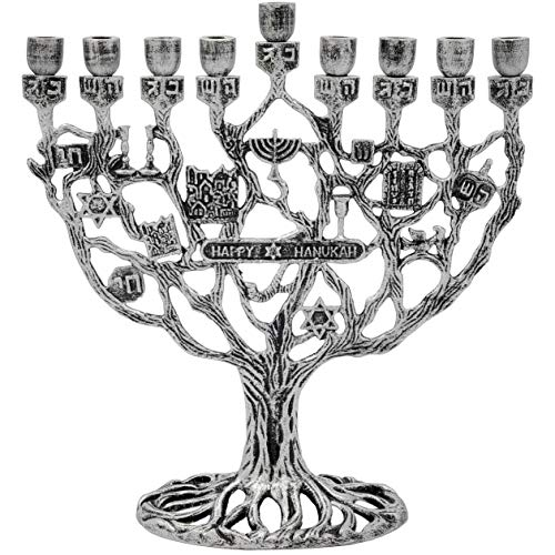 Hanukkah Menorah Dreidel Cup Design with Jewish Themes (Pewter Menorah)