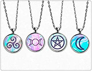 Mystic Pagan Pendant Necklace Set. Moon Necklace, Triple Goddess Necklace, Pentagram Jewelry, Pagan Jewelry, Grunge, Spiral, Boho, Seapunk, Send four Pendant Necklaces ,key chain or necklace