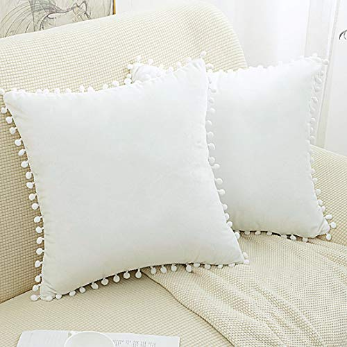 PiccoCasa 2 Pcs Pompoms Decorative Throw Pillow Covers, Soft Velvet Cushion Covers, Solid Square Pillowcases for Sofa Bed Car Seat, White 45 x 45cm