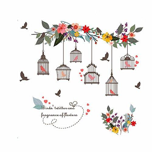 Fleur Oiseaux Birdcage Stickers Muraux Stickers Muraux pour La Maison Salon Chambre TV Fond Jardin Fenêtre Décor