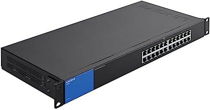Linksys Business LGS124 24-Port Rackmount Gigabit Ethernet Unmanaged Network Switch I Metal Enclosure,Black; blue