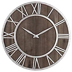 Oldtown Farmhouse Metal & Solid Wood Noiseless Wall Clock (Dark Brown Wood Rustic Silver Metal Iron Frame with Rusted Orange Red Paint Dots, 24-inch)