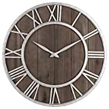 Oldtown Farmhouse Metal & Solid Wood Whisper Quiet Ticking Wall Clock (Dark Brown Wood Rustic Silver Metal Iron Frame with Rusted Orange Red Paint Dots, 30-inch)