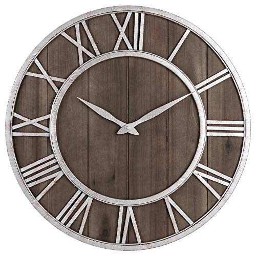 Oldtown Farmhouse Metal & Solid Wood Noiseless Wall Clock (Dark Brown, 30-inch)