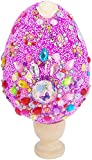 Huevos de Pascua Colorida Huevos Plásticos,Huevos de purpurina hechos a mano para niños, Huevos sorpresa de plástico,Pegatinas de Diamantes de Imitación para niños Manualidades de Actividades-Púrpura