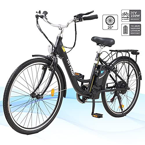 HITWAY 26' Vélo Électrique pour Adultes, Vélo Électrique avec Batterie Amovible à Moteur 250 W, 3 Modes De Travail Réglables, Vélo De Ville Électrique avec Système à 7 Vitesses Shimano