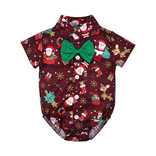 Infant Baby Boys Bodysuit Christmas Dress Shirt Cute Short Sleeve Rompers Onesie with Bow Tie (Red, 18-24 Months)