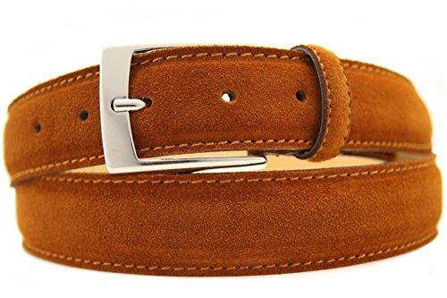 NISAR Italienischer Wildledergürtel Herren Damen Suede Belt Cognac UniSex Gürtel 3,5cm Breit (100cm)