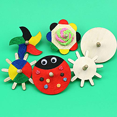 NUOBESTY 4pcs Unfinished Spinning Top DIY Wooden Painting Gyroscope Peg -top Toy for Children Kleinkinder Kinder