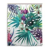 AORSTAR Duschvorhang d¨¦COR Tropical Floral Orchid and Palm Jungalow Pattern Waterproof Shower Curtain Eco-Friendly Tie-Dye Decor 72x72 Inch