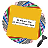 Permanent Adhesive Vinyl Sheets - 80 Pack 12 x 12 35 Assorted Colors Permanent Vinyl for Cutting Machine 70Pack (Matte & Glossy) Outdoor Vinyl for Cricut w/ 10 Pack Transfer Tape by JANDJPACKAGING