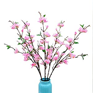 RNSUNH Artificial Forsythia Branches 4Pcs 37.5inch Long Winter Jasmine Simulation Flowers Artificial Forsythia Flower Stem for DIY Floral Art Plant Home Office Party Decor