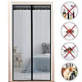 ROSG Cortina magnética para Puerta mosquitera - Montaje Adhesivo para Juegos de niños sin taladrar para Sala de Estar Puerta de balcón Puerta de Patio (Color: Negro, Tamaño: 70x230CM)