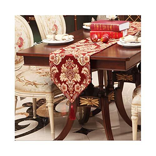 Rubyia Camino Mesa Comedor Decorativo, Bordado de Flores con Borlas Corredor de Mesa para Cenas Fiestas Decoración del Hogar, Seda, 33 x 270 cm, Rojo