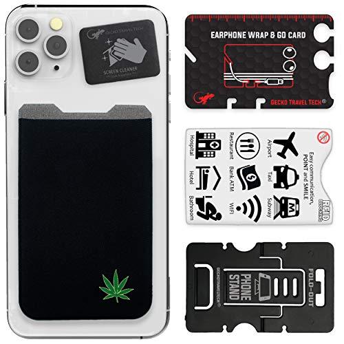 El Monedero Adhesivo Gecko para teléfonos celulares, Diseño Ultra Slim (Ultra Delgado) & Personalizado en Color Negro con Marihuana