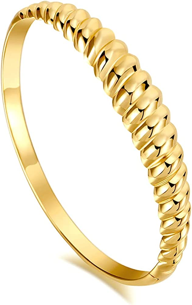 Twisted Chunky Bangle Bracelet for Women 14K Gold Plated Dainty Minimalist Croissant Dome Gold Bangle for Women 6.7 inch Small Size