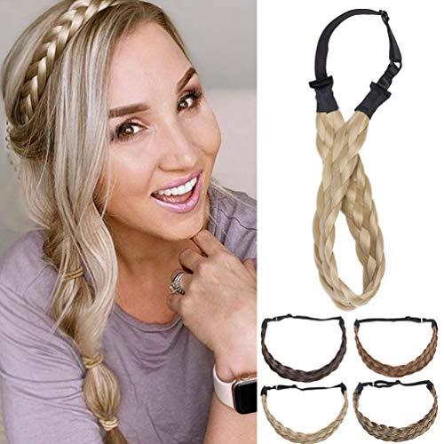 Diadema Trenzada Pelo Sintético Trenzas Gruesas Braid Hair Headband Se Ve Natural Elástica para Mujer Pequeño Medio Rubio ceniza