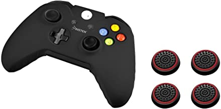 Insten Soft Silicone Protective Skin Case Cover (Black) + [2 Pair / 4 Pcs] Silicone Analog Thumb Grip Stick Cover (Black/R...