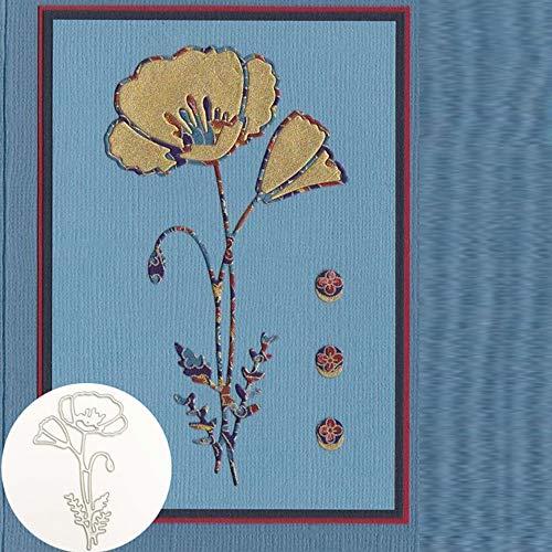 WOZOW Stanzschablone Scrapbooking Stanzmaschine Prägeschablonen Schneiden Stanzformen Schablonen für Einladung Grußkarte Verpackung Dekoration (F Blume)
