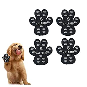 VALFRID Dog Paw Protector Anti-Slip Grips to Keeps Dogs from Slipping On Hardwood Floors,Disposable Self Adhesive Resistant Dog Shoes Booties Socks Replacemen S 24 Pieces