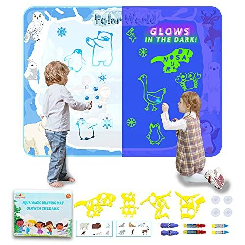 Agua Dibujo Pintura, 90x120 cm Barley Direct Agua Dibujo Doodle Niños Pizarra Mágica Agua Brillan en la Oscuridad Esteras de Agua Pintura Juguetes Educativo para Niños Niñas Regalos de Cumplea