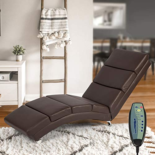 Mellcom Electric Massage Recliner Chair Chaise Longue Heated PU Leather Ergonomic Lounge Massage Recliner with Massage,Heating,Remote Control,Side Pocket