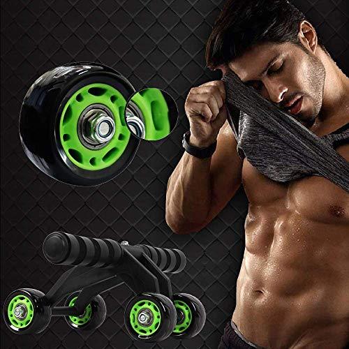 Best Goods Rodillo abdominal para entrenamiento abdominal | Ab Roller (Ab Wheel) | Ab Roller (4 ruedas de moto) (negro y verde)