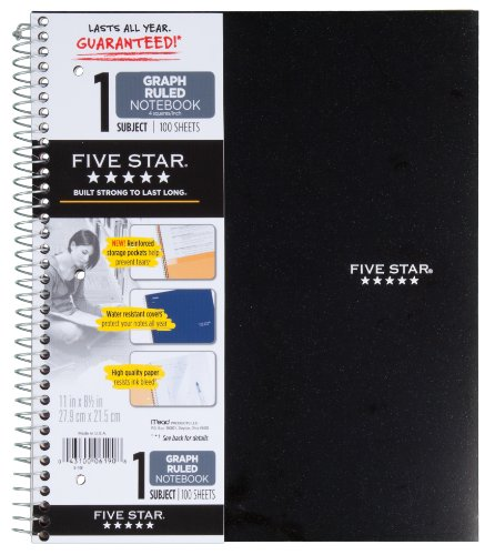 """Five Star Spiral Notebook, 1 Subject, Graph Ruled Paper, 100 Sheets, 11"""" x 8-1/2"""" Sheet Size, Assorted Colors, Color Selected For You, 1 Count (06190)"""