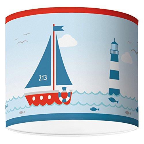 Lampenschirm für Kinderzimmer von Hapytaly - Maritimes Motiv für Baby- und Kinderlampen, Mädchen und Jungen - Ø40 cm - schöne Deckenlampe, Hängelampe, Tischleuchte oder Stehlampe