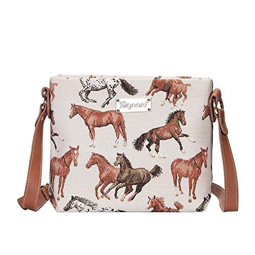 Signare, borsetta a tracolla da donna, leggera, in stile arazzo con motivo cavalli che corrono, con cavallo bianco (XB02-RHOR)
