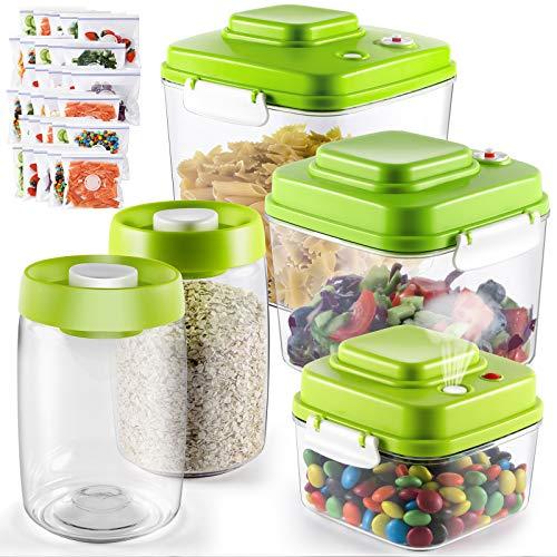MASTERTOP Vakuum Vorratsdosen 5er Set, Kunststoff Frischhaltedosen mit Deckel, BPA frei,Vakuumier-Behälterset Kommt mit 30 Frischhaltetasche