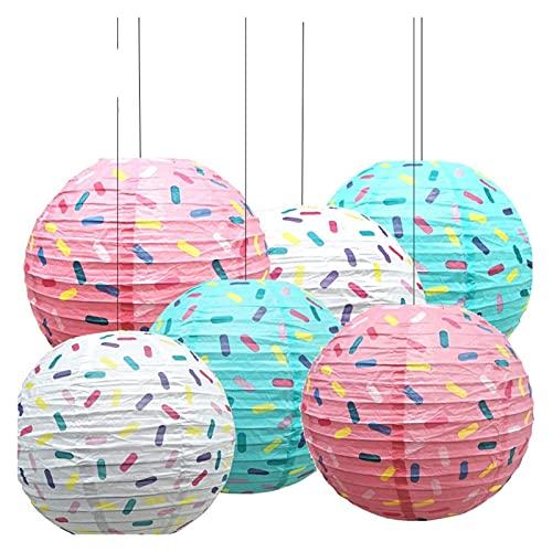 CAIFEIYU 6 PCS/Set 12inch Donut Party Colgando Linterns Linda Pelota de Papel Colgante para la Fiesta de cumpleaños Decoración del hogar