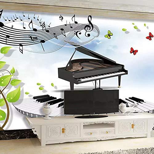 Piano tv fondo papel de pared 3d música pintura decorativa aula piano música estudio papel tapiz música sala de niños mural papel pintado a papel pintado pared dormitorio autoadhesivo-400cm×280cm
