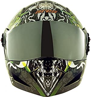 Steelbird Mens ISI Certified Off Road Racing Graphics Helmet - SB-41 Ares Devil Face Flip Up Helmet with Visor (Medium 580MM, Glossy Black)