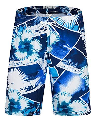 APTRO Badehose Herren Freizeit Short Urlaub Short Badeshorts Ohne Innenslip Blau Blumen 2003 XL