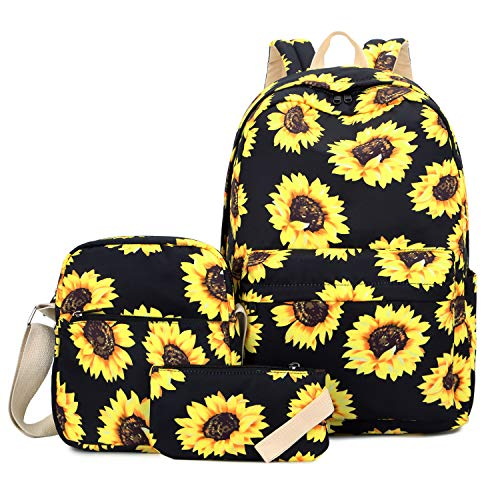 Sunflower Backpack for Women, FLYMEI Cute Backpack for Girls, Lightweight 15.6'' School Backpack with Crossbody Purse & Pencil Bag, Travel Casual Daypack for Women, Sunflower Kids' Backpack for Christmas
