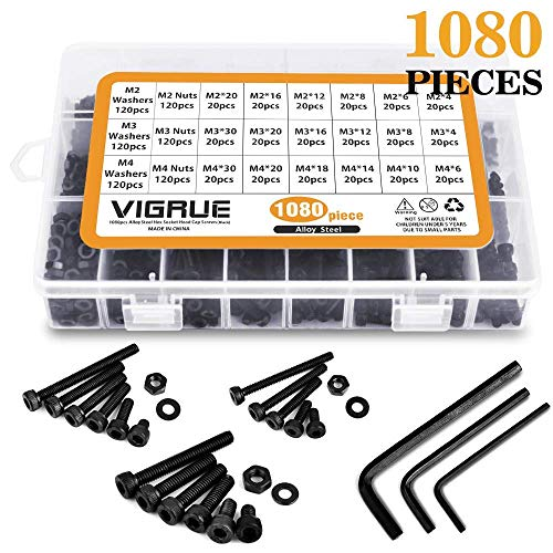 VIGRUE M2 M3 M4 Alloy Steel Socket Head Cap Screws Nuts Set 1080pcs Assortment Kit with Storage Box, Three Hex Wrenches Included (1080 PCS)