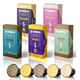 50 Fairtrade Flavored Espresso Capsules Compatible with Original Line Nespresso Pod Machines | Caramel Vanilla Chocolate Hazelnut Coconut Flavored Espresso Pods for Nespresso Capsule Machines